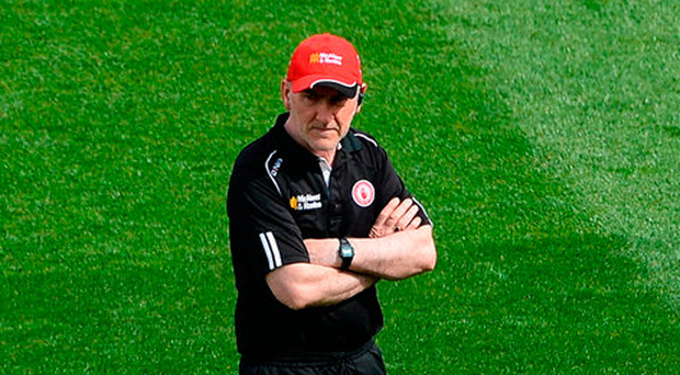 Mickey Harte ahead of Tyrone's All-Ireland quarter-final defeat by Mayo at Croke Park. Photo: Sportsfile
