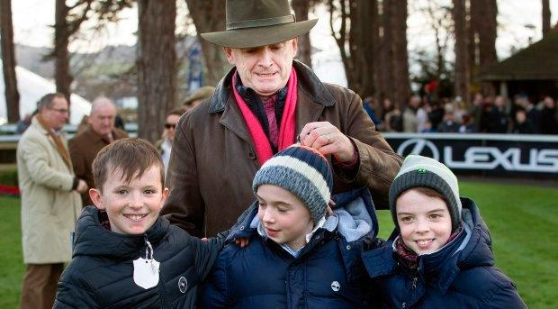 Michael O'Leary with his sons and their cousin. Photo: Tony Gavin