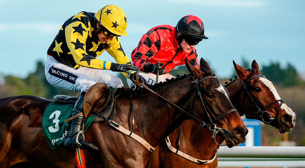 Bacardys and Ruby Walsh (No 3) get the better of Kolumbus (Paul Townend) to win yesterday's maiden hurdle at Leopardstown. Photo by Seb Daly/Sportsfile