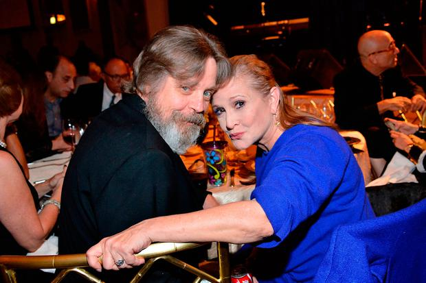 Mark Hamill and Carrie Fisher in attendance at the Midnight Mission's 100 year anniversary Golden Heart Gala. (Photo by Araya Diaz/Getty Images for The Midnight Mission)