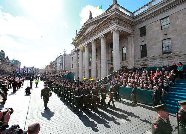 The Rising commemoration parade passes the GPO in Dublin last March. Picture Credit: Frank McGrath