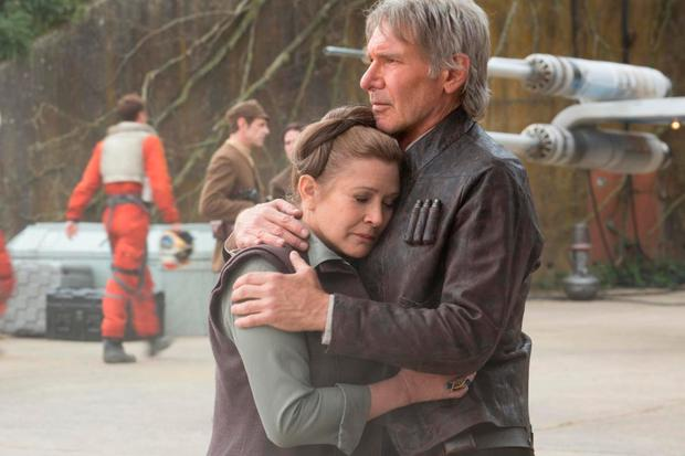 Carrie Fisher and Harrison Ford in the The Force Awakens