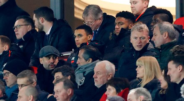 Manchester City manager Pep Guardiola and Sunderland manager David Moyes in the stands to watch Liverpool and Stoke