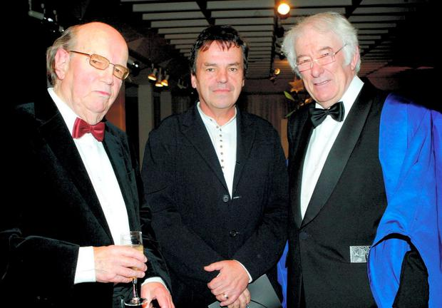 The poet with Neil Jordan, centre, and Seamus Heaney after receiving the RHA Gold Medal in 2007. Photo: Gareth Chaney Collins