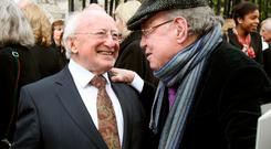 Anthony Cronin talking to President Michael D Higgins in 2012. Photo: Tony Gavin