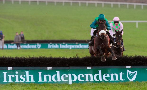 Missy Tata, with Daryl Jacob up, on the way to winning the Irish Independent Hurdle at Limerick. Photo: Healy Racing
