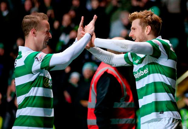 Celtic's Stuart Armstrong celebrates scoring his sides second goal with Leigh Griffiths (left)