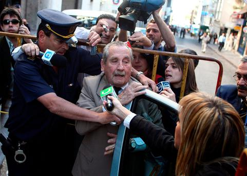 Gregorio Goyo Alvarez pictured arriving to court in the capital, Montevideo, for his trial in 2007 Picture: Reuters