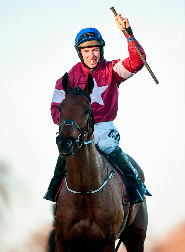 Jack Kennedy celebrates winning The Lexus Steeplechase on Outlander during day three of the Leopardstown Christmas Festival. Pic: Sportsfile