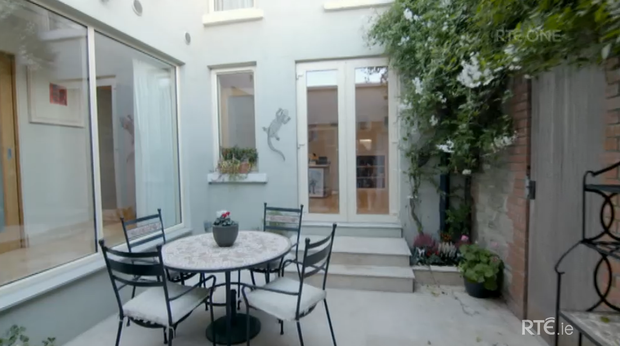 A courtyard connecting Norah's living and kitchen space. She was crowned the winner of RTE's Celebrity Home of the Year