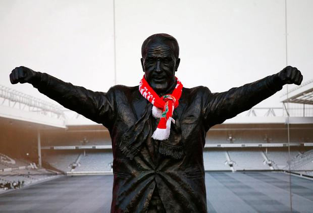 The Bill Shankly statue is seen prior to the Premier League match between Liverpool and Stoke City at Anfield. Photo: Alex Livesey/Getty Images