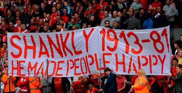A banner in memory of late manager Bill Shankly. Photo: Paul Ellis/AFP/Getty Images