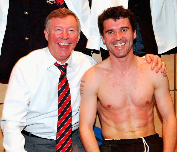 Alex Ferguson and Roy Keane in happier times as they celebrate after beating Arsenal in the FA Cup at Villa Park in 2004. Photo: John Peters/Manchester United via Getty Images