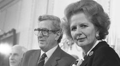 Garret FitzGerald with Margaret Thatcher in November, 1985. (Part of the Independent Newspapers Ireland/NLI Collection)