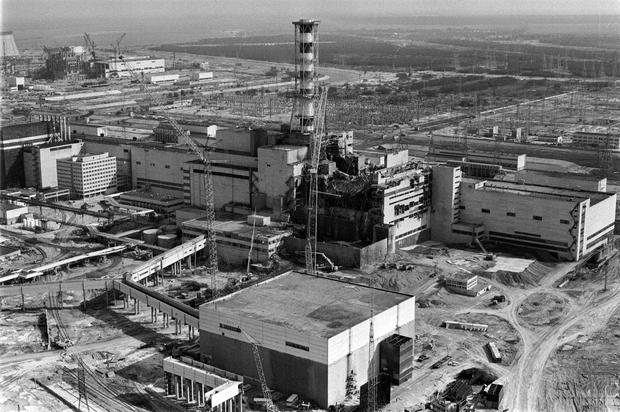 Picture taken from a helicopter in April 1986 shows a general view of the destroyed 4th power block of Chernobyl's nuclear power plant a few days after the catastrophe. Photo: AFP/Getty Images