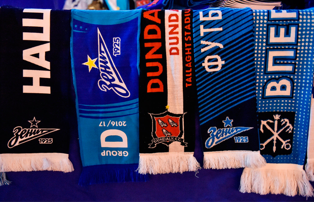 A general view of the Zenit St Petersburg merchandise on sale. Photo by David Maher/Sportsfile