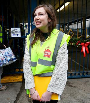 Emily Duffy, from Home Sweet Home, is pictured giving a media update outside Apollo House. Photo: Frank McGrath