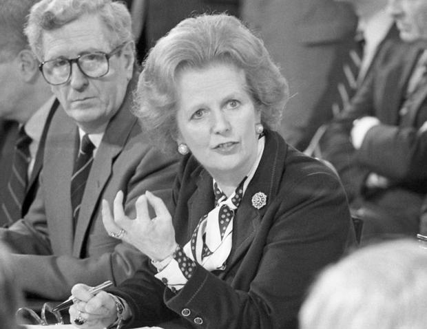 Margaret Thatcher at the signing of the Anglo-Irish Agreement at Hillsborough Castle, 15th November 1985