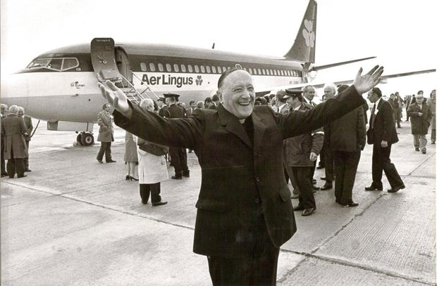 Monsignor James Horan on the runway at Knock Airport in 1986