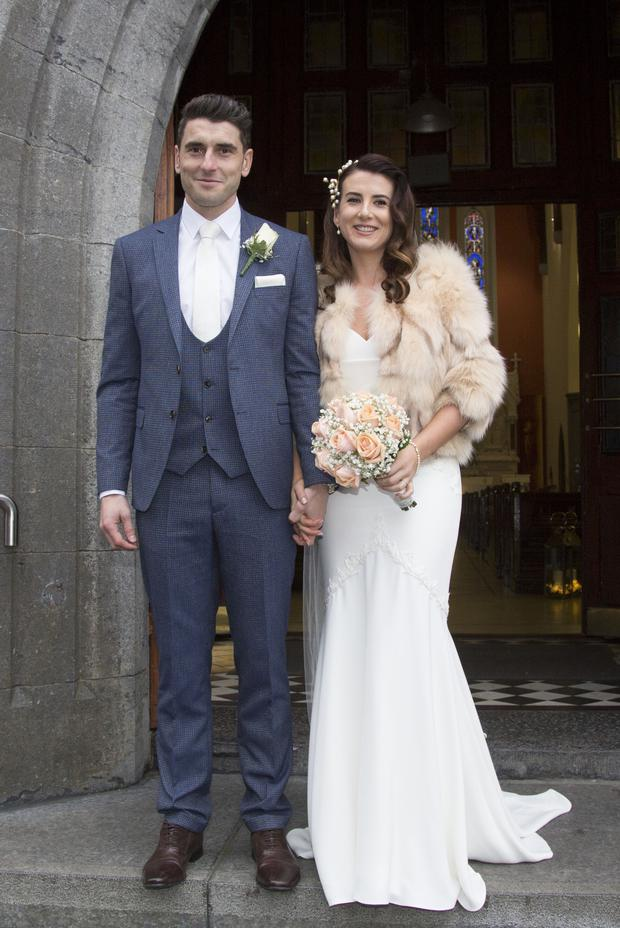 Dublin's Bernard Brogan pictured with his new bride Keira Doyle after their wedding at The Church of The Assumption, Thomastown, Co. Kilkenny. Picture: Colin O'Riordan