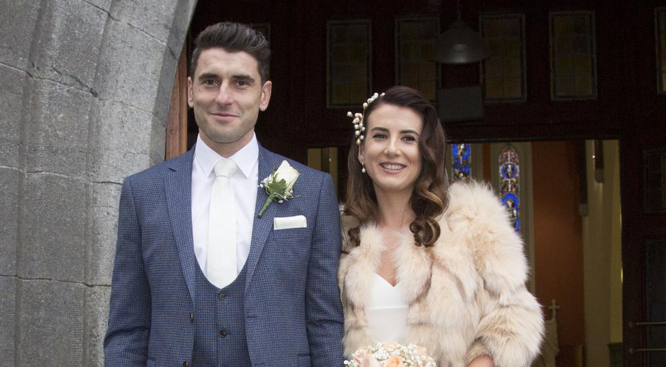 Dublin's Bernard Brogan pictured with his new bride Keira Doyle after their wedding at The Church of The Assumption, Thomastown, Co. Kilkenny. PIC COLIN O'RIORDAN