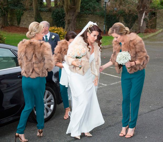 Keira Doyle arrives for her wedding at The Church of The Assumption, Thomastown, Co. Kilkenny. PIC COLIN O'RIORDAN