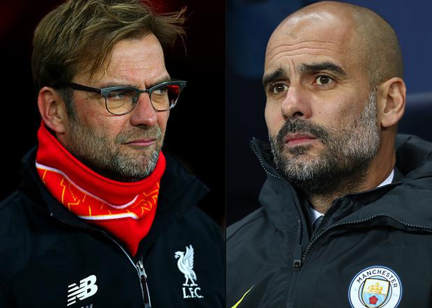 Jurgen Klopp, manager of Liverpool (L) and Josep Guardiola, Manager of Manchester City