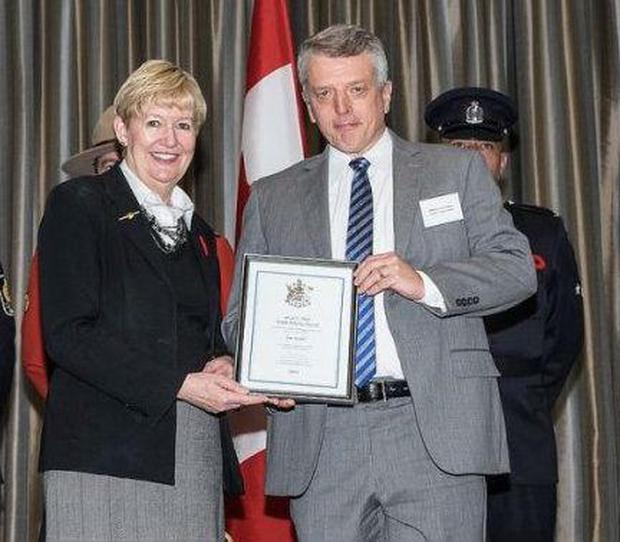 Mr Fisher received a citation for his work (Province of British Columbia)