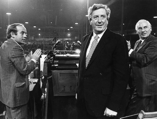 Garret FitzGerald at the Fine Gael Ard Fheis in October 1983 Picture: John Carlos