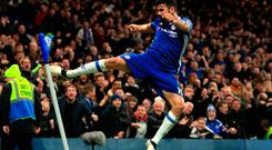 Chelsea's Diego Costa celebrates scoring his side's fourth
