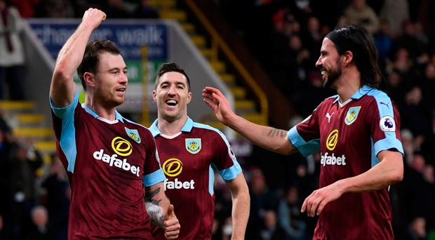 Burnley's Ashley Barnes celebrates scoring their fourth goal from the penalty spot. Photo: Anthony Devlin/Reuters