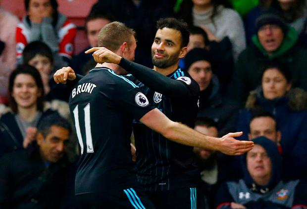 West Bromwich Albion's Hal Robson-Kanu celebrates scoring their second goal. Photo: Peter Cziborra/Action Images via Reuters
