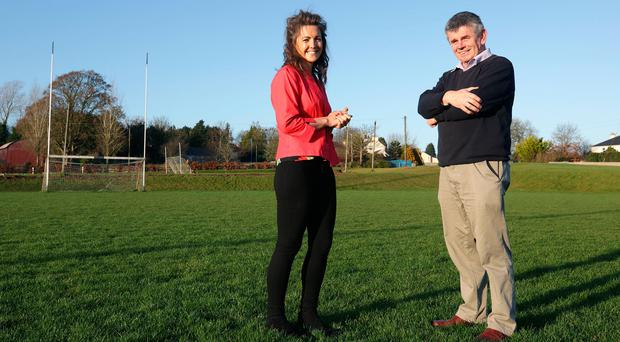 Claire McCormack in conversation with Martin Skelly at NewtownCashel GAA Club. Photo: Damien Eagers