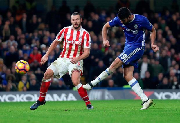 Chelsea's Diego Costa shoots at goal. Photo: Eddie Keogh/Reuters