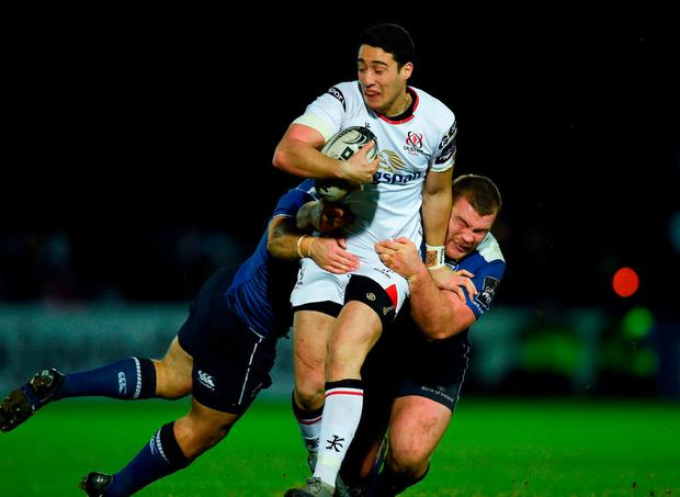 Ulster's Brett Herron is tackled by Leinster's Jack McGrath and Sean O'Brien. Photo: David Fitzgerald/Sportsfile