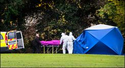 The remains of Mark Desmond are removed from Griffeen Valley Park, Lucan. Desmond had been lured to a meeting in the park and shot dead. Photo: David Conachy