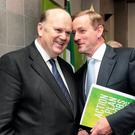 Experienced: Finance Minister Michael Noonan (left) and Taoiseach Enda Kenny were once foes but are now close political allies. Photo: Tom Burke