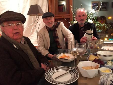 HOLDING COURT: Tony Cronin, Dermot Bolger and Mick O'Loughlin celebrate New Year's Eve 2015