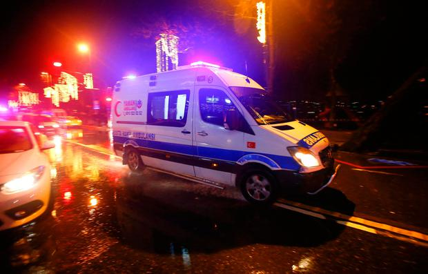 An ambulance arrives near a nightclub where a gun attack took place during a New Year party in Istanbul, Turkey, January 1, 2017. REUTERS/Osman Orsal