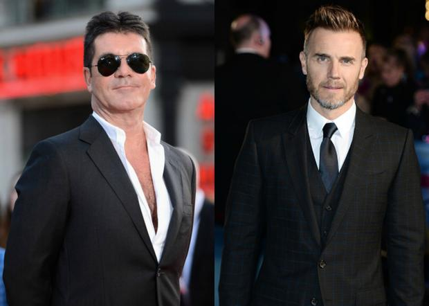 Simon Cowell (L) 'prepared to sue' Gary Barlow over singer's new talent show