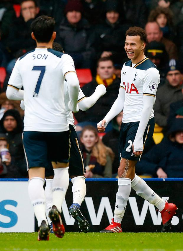 Tottenham's Dele Alli celebrates scoring their fourth goal