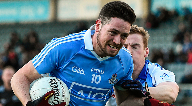 Dublin's Gavin Ivory takes on Tom Shields of Dubs Stars at Parnell Park. Photo: David Maher/Sportsfile