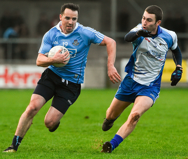 Dublin's Gary Sweeney in action against Graham Hannigan of Dubs Stars during the Football Challenge game at Parnell Park in Dublin. Photo: David Maher/Sportsfile