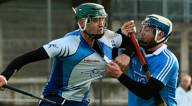 Dubs Stars's Chris Crummeyin action against Dublin's Sean O'Riain during the Hurling Challenge game at Parnell Park in Dublin. Photo: David Maher/Sportsfile
