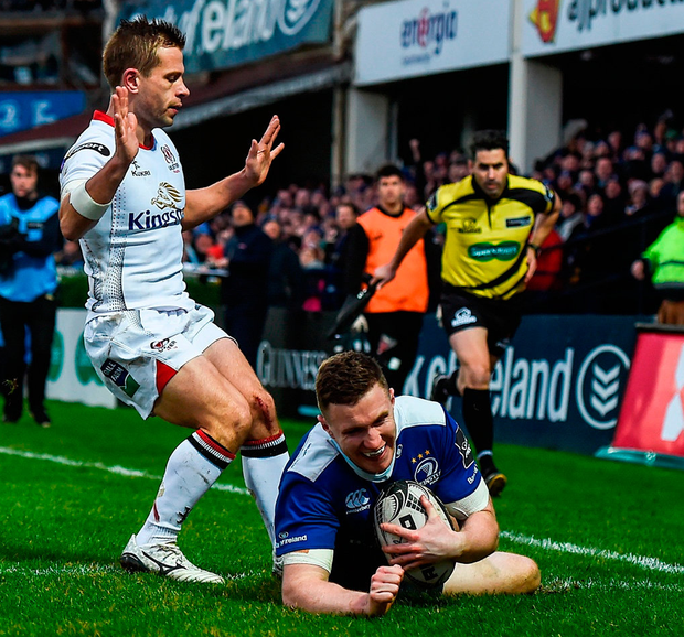 Leinster's Rory O'Loughlin goes over to score his side's third try. Photo: Stephen McCarthy/Sportsfile