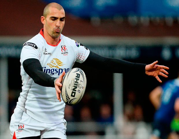 Ulster's Ruan Pienaar clears his lines during the Guinness PRO12 Round 12 match against Leinster. Photo: Piaras Ó Mídheach/Sportsfile