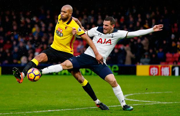 Tottenham's Vincent Janssen in action with Watford's Younes Kaboul. Photo: Reuters / Paul Childs