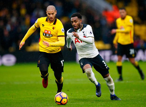 Tottenham's Danny Rose in action with Watford's Adlene Guedioura. Photo: Reuters / Paul Childs