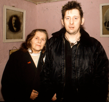Pogues singer Shane MacGowan with his mother Therese, at the family home where he grew up, in 1997. She died in a crash yesterday Photo: Martyn Goodacre/Getty Images