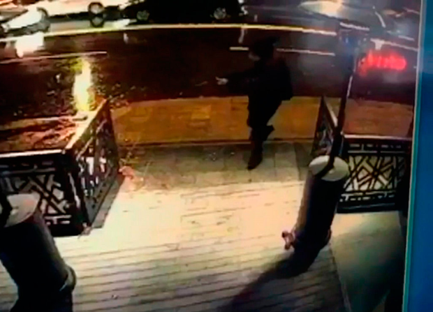 CCTV shows the attacker, armed with a long-barrelled weapon, shooting his way into the Reina nightclub in Istanbul
